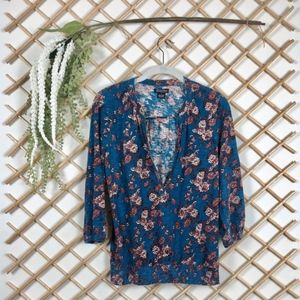 Blue Floral Printed 3/4 Sleeve Cotton Tee